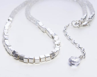 Gemstone Silver Necklace. Choose Rainbow Moonstone, White Topaz, Sapphire, Iolite, Labradorite, Citrine