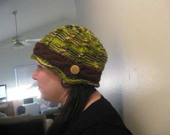Varigated Green Knit Modern Hat