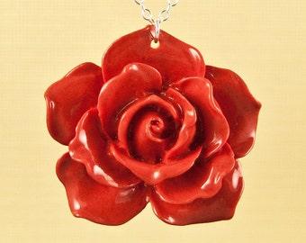 Vintage Red Lucite Rose Necklace set on Sterling Silver