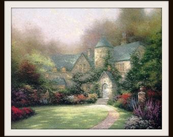 "Thomas Kinkade Book Print ""Beyond Autumn Gate"" (1993), Frameable Wall Art, Green Ivy, Stone Manor House, Romantic Painting, Grey Green Pink"