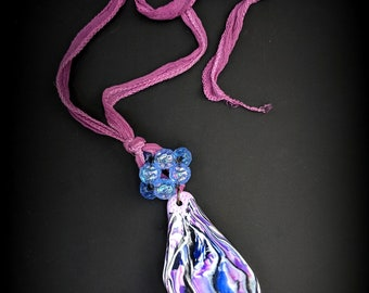 Leaf and bead woven bead on Silk ribbon  - Handmade Necklace