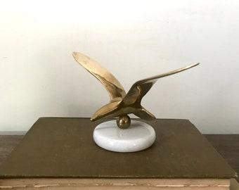 Vintage Brass Seagull Sculpture Paperweight