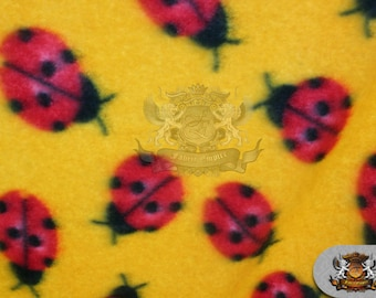 """Fleece Printed Fabric * Lady Bug YELLOW * / 58"""" Wide / Sold by the yard / N-554"""
