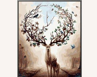Paint By Number Deer/ Mother and son deer Paint By Number kit/ Elk Painting/DIY Abstract elk Oil Painting Wall Art / paint by number adult