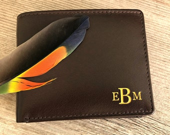 Monogram wallet • Men's wallet •personalized engraved bifold wallet • engraved mens leather wallets • gift for him RFID wallet • Brown* 7751