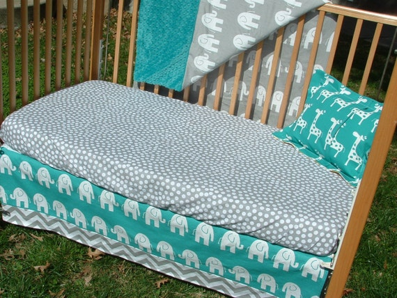 Items Similar To Turquoise And Gray Baby Bedding