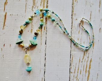 Citrine turquoise beaded necklace, citrine pendant necklace with green pearl, aquamarine and turquoise