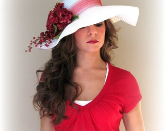 Holly Berries - White Floppy Wide Brimmed hat for Kentucky Derby Wedding or Holidays