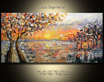Early Sunset Oil Landscape Abstract Tree Original Painting Contemporary Modern Palette Knife Painting by Lana Guise
