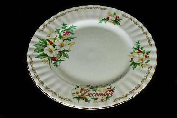 Salad/Dessert  Plate Golden Crown E&R Bouquet of the Month Christmas Rose