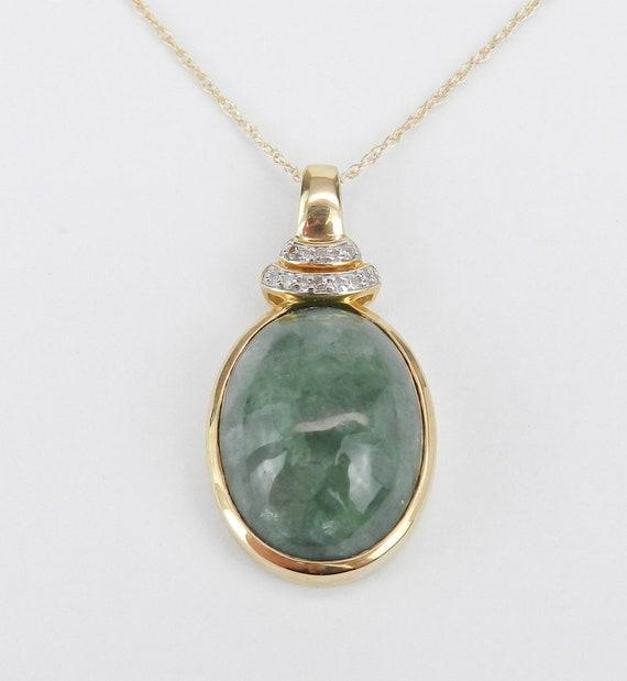 "Diamond and Jade Pendant Necklace 14K Yellow Gold 18"" Chain Healing Gemstone"
