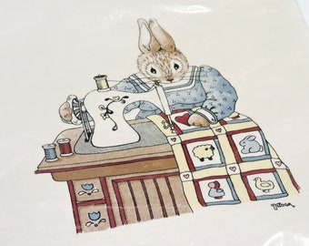 Daisy Kingdom Bunny Silk Screened Fabric Panel, Vintage Design 112 by Nina Shaffer, Rabbit at Sewing Machine Quilting  itsyourcountry