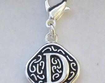 Vintage  Letter D  Dangle  Lobster Claw for Necklace - Bracelets - Key Chains
