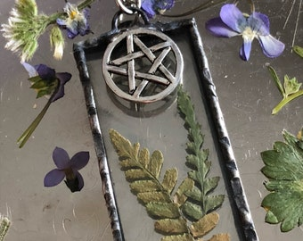 Pressed Flower, Pentacle Fern Necklace, earth