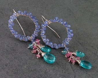 Tanzanite earrings with apatite & pink sapphire, handmade sterling silver circle earrings-OOAK