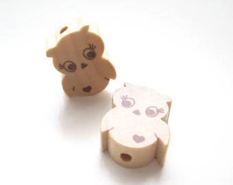 Little OWL - natural wooden bead