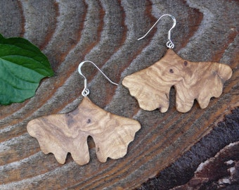 Ginkgo leaf wood earrings, Sterling silver Leaf earrings, Oversized big silver earrings, Boho Wooden Earthy earrings, Ginkgo leaf jewelry