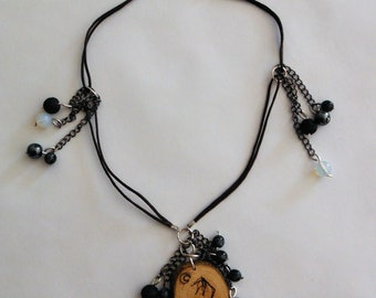 Hand made necklace with prography art pendant