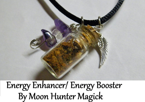 Energy Boost Charm Bottle Necklace Pagan Wicca Reiki Ritual Lucky Amulet