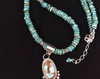 Native American Sterling Silver Turquoise Necklace Pendant Signed
