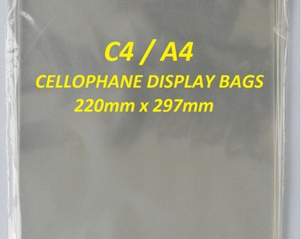 C4 / A4 Clear Cellophane Display Bags For Greeting Cards, Self Seal, Cello Bags