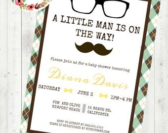 Little Man Baby Shower Invite ~Digital File