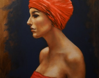 Portrait of a Woman 20x16 Original Oil Painting on Canvas