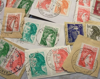 30 French Stamps, Vintage Postage Stamps, Used Stamps, France, Postage Stamps, Stamps on Paper