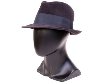 Navy Felt Fedora Hat For Men Dark Blue Hat Men's Dress Hat Formal Hat Custom Men's Hat Fall Accessories Men's Style Fall Hat For Men