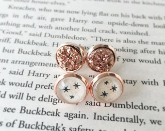 Harry Potter earrings recycled book stud earrings, rose gold posts, rose gold druzy earrings, recycled book, literary jewelry book lover gif