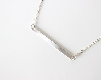 Bar Necklace Personalized Plate Necklace Sterling Silver Name Plate Necklace Horizontal Bar Necklace Message Necklace Layering Necklace