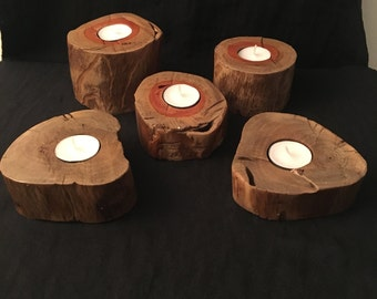Wood canddle holders