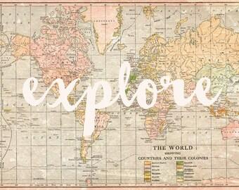 Explore - map artwork -  travel art - fine art print - vintage style print - gift for traveler - explore print