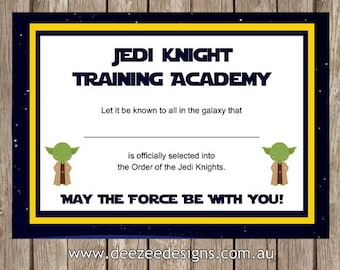printable star wars jedi certificate instant download