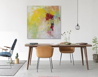 Abstract pink painting Pink abstract art Abstract painting Large original painting on canvas Abstract art pink purple yellow red Canvas art