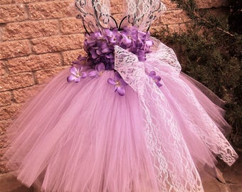 LILAC FLOWERS with LACE, Lilac Tutu Dress, Purple Lace Tutu, Flower Girl Gown, Pageant Girl Dress, Lavender Lace Dress, Baptism Gown