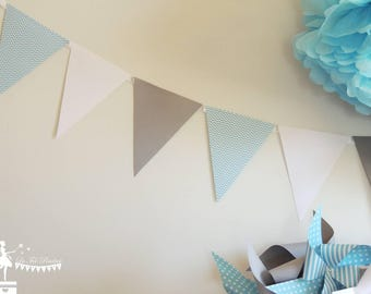 12 pastel grey and white 155cm Blue Bunting