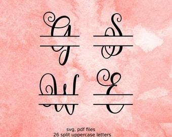 Split letter SVG, Split Monogram Letters, Split Alphabet svg files, vector files for silhouette, font for cricut, split monogram svg