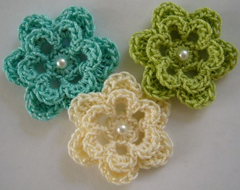 Trio of Crocheted Flowers - Aqua, Lime Green and Cream with Pearl - Cotton Flowers - Crocheted Flower Appliques - Crocheted Embellishments