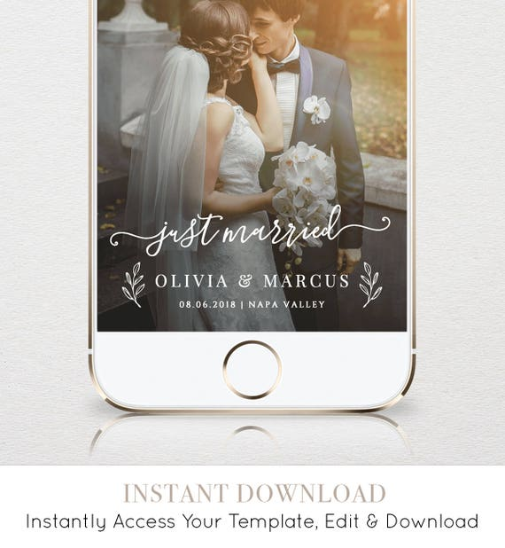 """Wedding Geofilter, Custom """"Just Married"""" Snapchat Filter, Instant Download, 100% Editable Template, Unlimited Use & Customization #030-104GF"""
