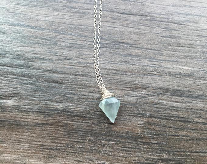 Aquamarine Arrow Spear Point Littles Necklace march birthstone Blue Gift bridesmaid Healing Chakra Energy Gemstones Inspirational Gift