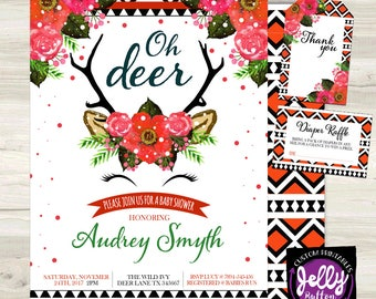 Oh Deer Baby Shower Invite, Baby Shower Invitation, Deer Invite, Oh Deer Baby Shower Invite, Tribal Invite, Flower Invite