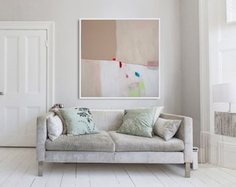 "Giclee print of Large abstract painting,  white and beige modern painting, PRINT, expressionist painting ""Blush iii"""