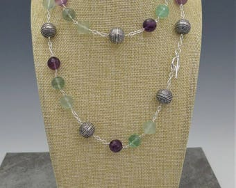 Purple Green Flourite and Silver Chain necklace