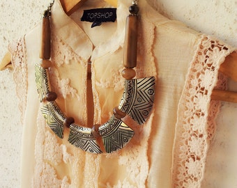 Brown Statement Necklace/Tribal Necklace/Bib Necklace/Chunky Necklace/Beaded Necklace/Bohemian Necklace/Silver Necklace/Boho Necklace