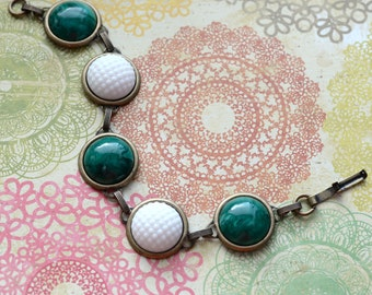 Green and White Bracelet, Bubble Glass Bracelet, Antiqued Brass Jewelry, Vintage Glass Jewelry, Faux Malachite Cabochon Bracelet, SRAJD