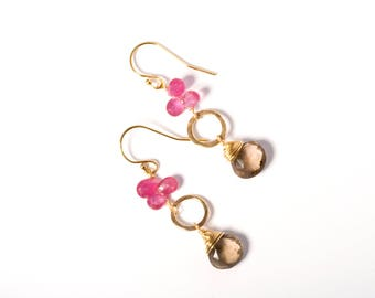Gemstone Earrings, Stone Earrings, Multi Gemstone Earrings, Pink Earrings, Earrings Gemstone, Semi Precious Stone Earrings, Sapphire Earring