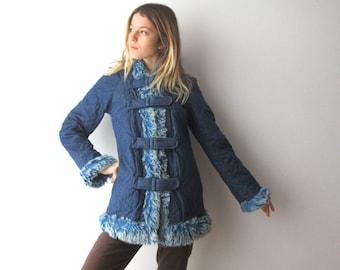 Vintage Blue Denim Coat Faux Fur Jacket Coat Hippie Outerwear Denim Long Jacket Small to Medium Size Boho Bohemian Cropped Coat