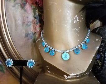 1950's Turquoise Blue Rhinestone Demi Parure Necklace Earring Set