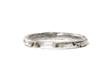 Fine Silver Ring Hammered Silver Men's Ring Oxidized Silver Texturized Ring Large Silver Band Rustic Artisan Ring 999 Silver